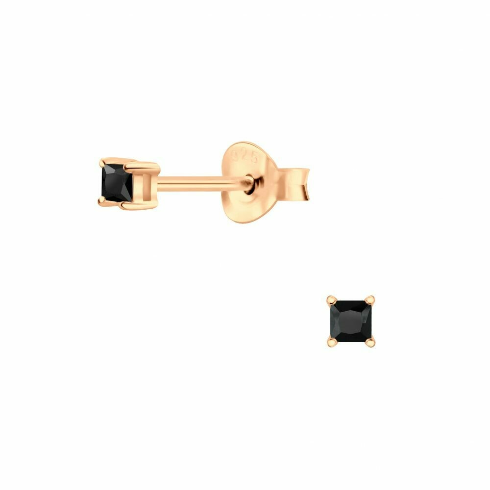 2mm Square Black CZ Posts - Rose Gold Plated Sterling Silver - P68-8