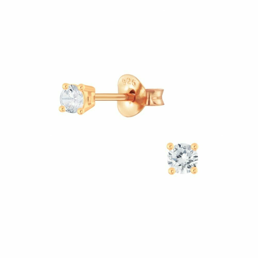 3mm Round Clear CZ Posts - Rose Gold Plated Sterling Silver - P68-3