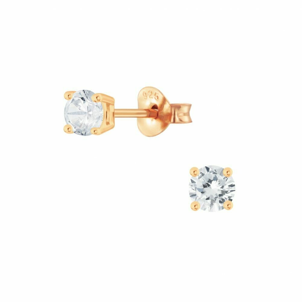 4mm Round Clear CZ Posts - Rose Gold Plated Sterling Silver - P68-5