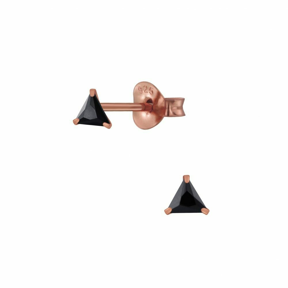3mm Triangle Black CZ Posts - Rose Gold Plated Sterling Silver - P68-24