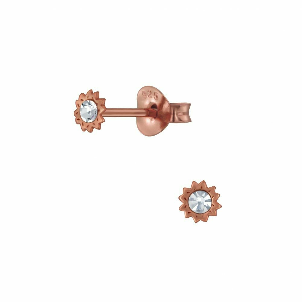 Tiny Crystal Sun Posts - Rose Gold Plated Sterling Silver - P68-19