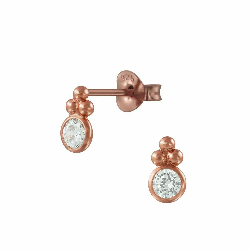 CZ Dotted Circle Posts - Rose Gold Plated Sterling Silver - P68-22