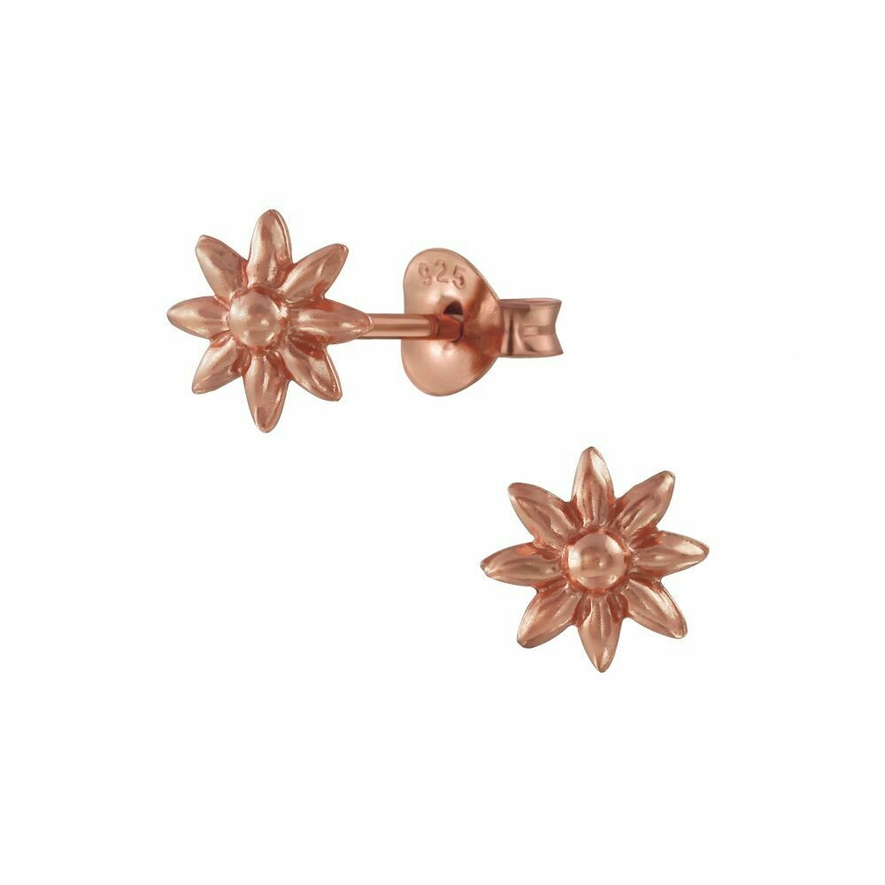 Stamped Flower Posts - Rose Gold Plated Sterling Silver - P66-5