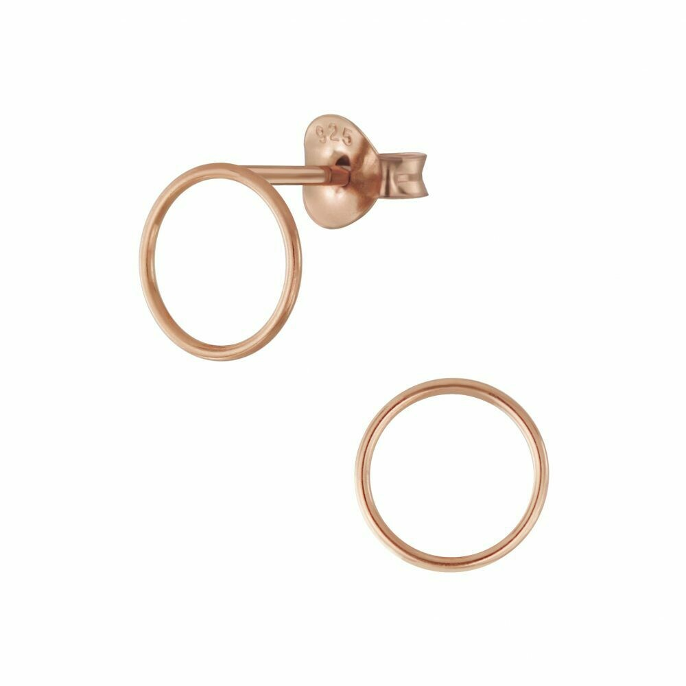 Open 9mm Circle Posts - Rose Gold Plated Sterling Silver - P66-8
