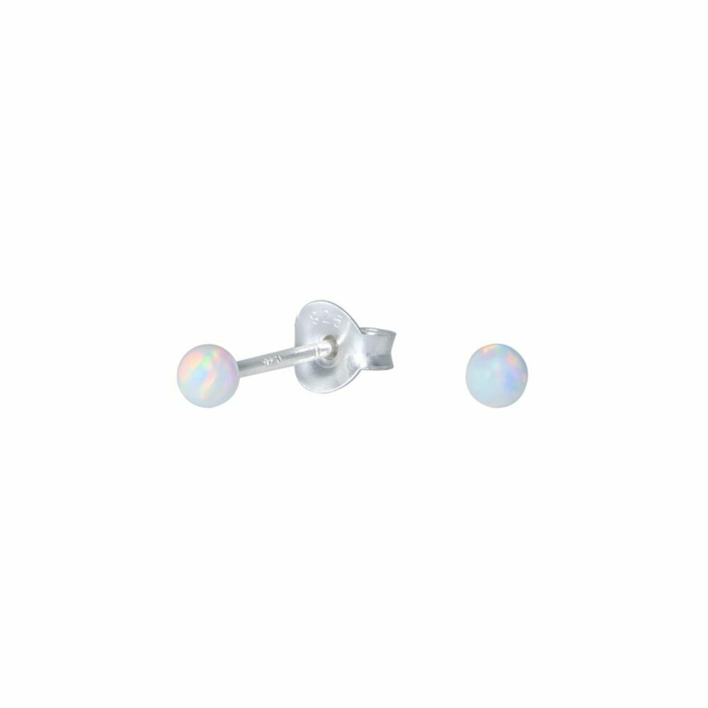 White Opalescent 3mm Ball Post - Sterling Silver - P75-1