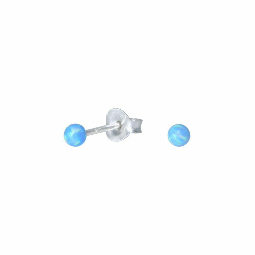 Sky Blue Opalescent 3mm Ball Post - Sterling Silver - P75-2