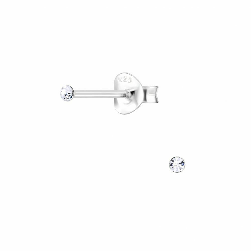 Micro 1.5mm Clear Crystal Posts - Sterling Silver - P75-10