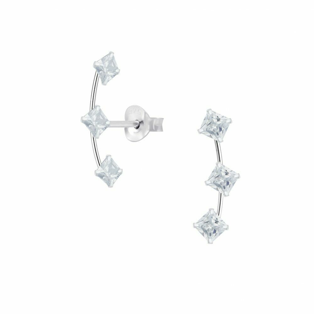 3 Square CZ Line Posts - Sterling Silver - P75-21