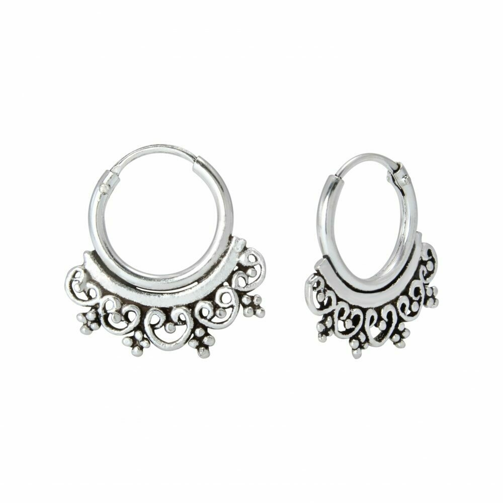 Sterling Silver 10mm Filigree Bali Hoops - H60-4
