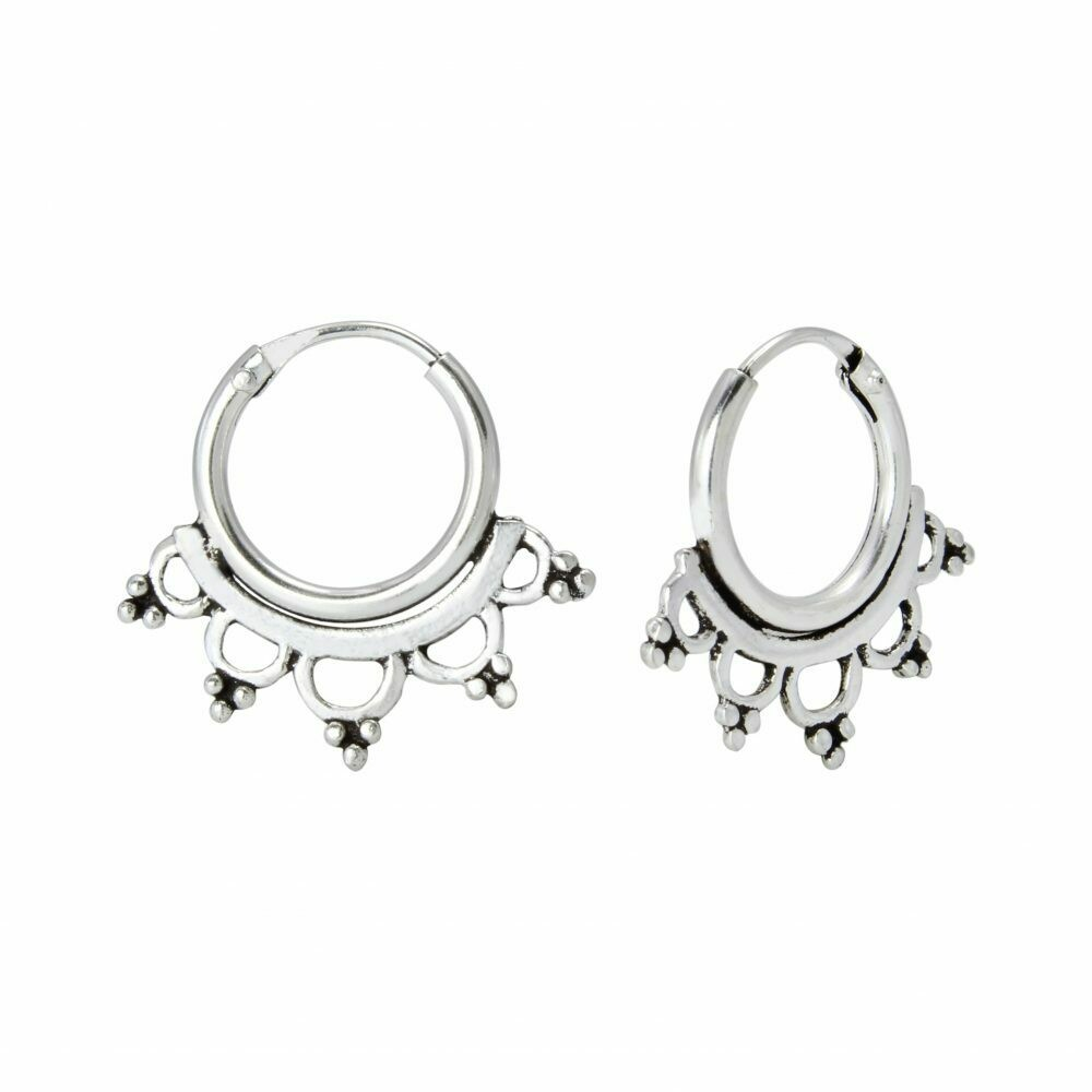 Sterling Silver 10mm Filligree Bali Hoops - H60-3