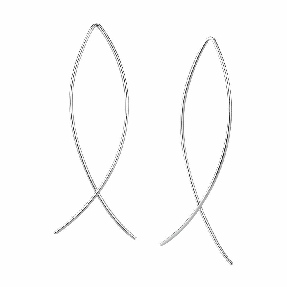 Sterling Silver Wire Thread-Thru Earrings - H60-10