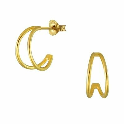 14kt Gold-Dipped Sterling Silver Double Half Hoop - H60-7