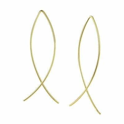 14k Gold-Dipped Sterling Silver Wire Thread-Thru Earrings - H60-9