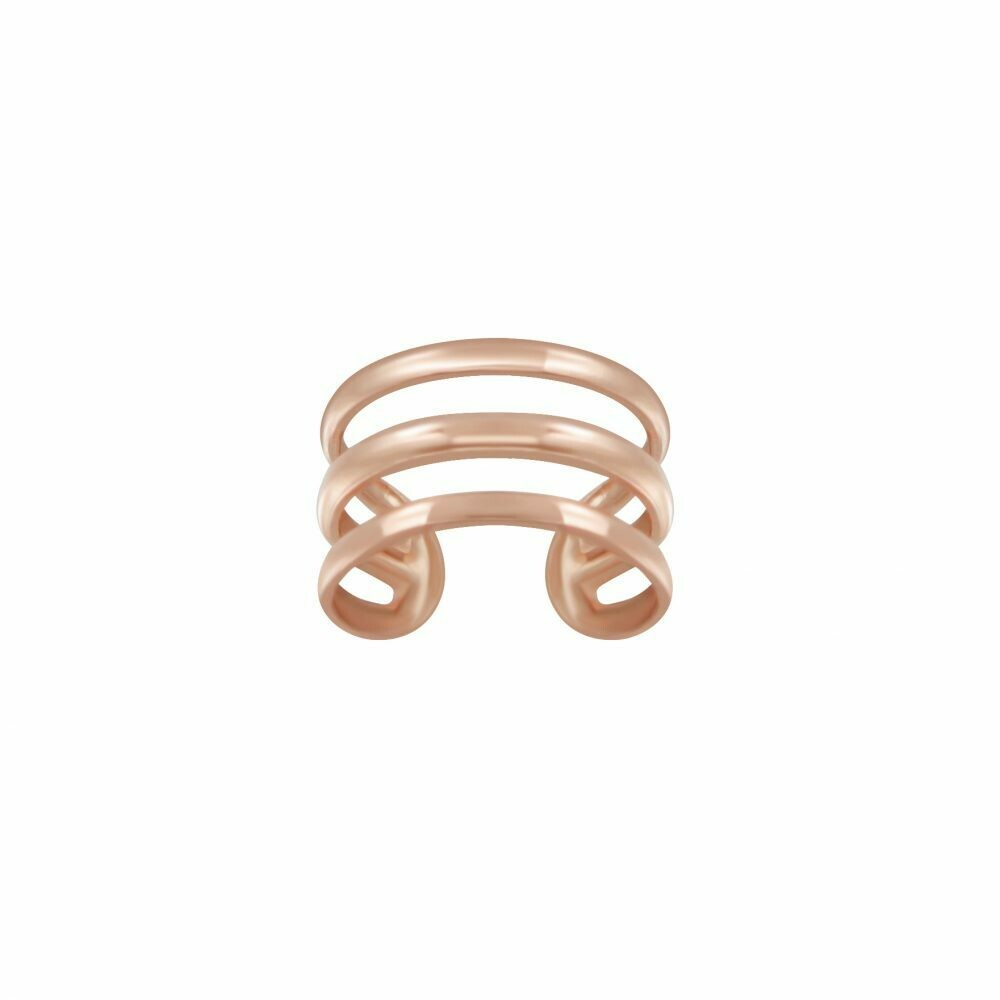 Rose Gold Dipped Sterling Silver Triple Line Ear Cuff - H60-16
