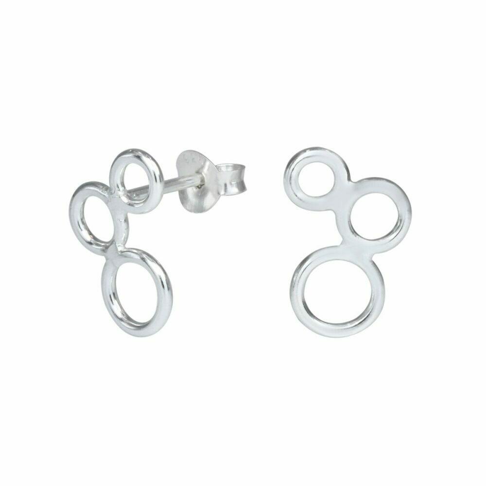 Sterling Silver Triple Circle Posts - P70-7