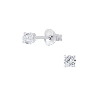 Sterling Silver 3mm Round Cubic Zirconia Posts - P23-4