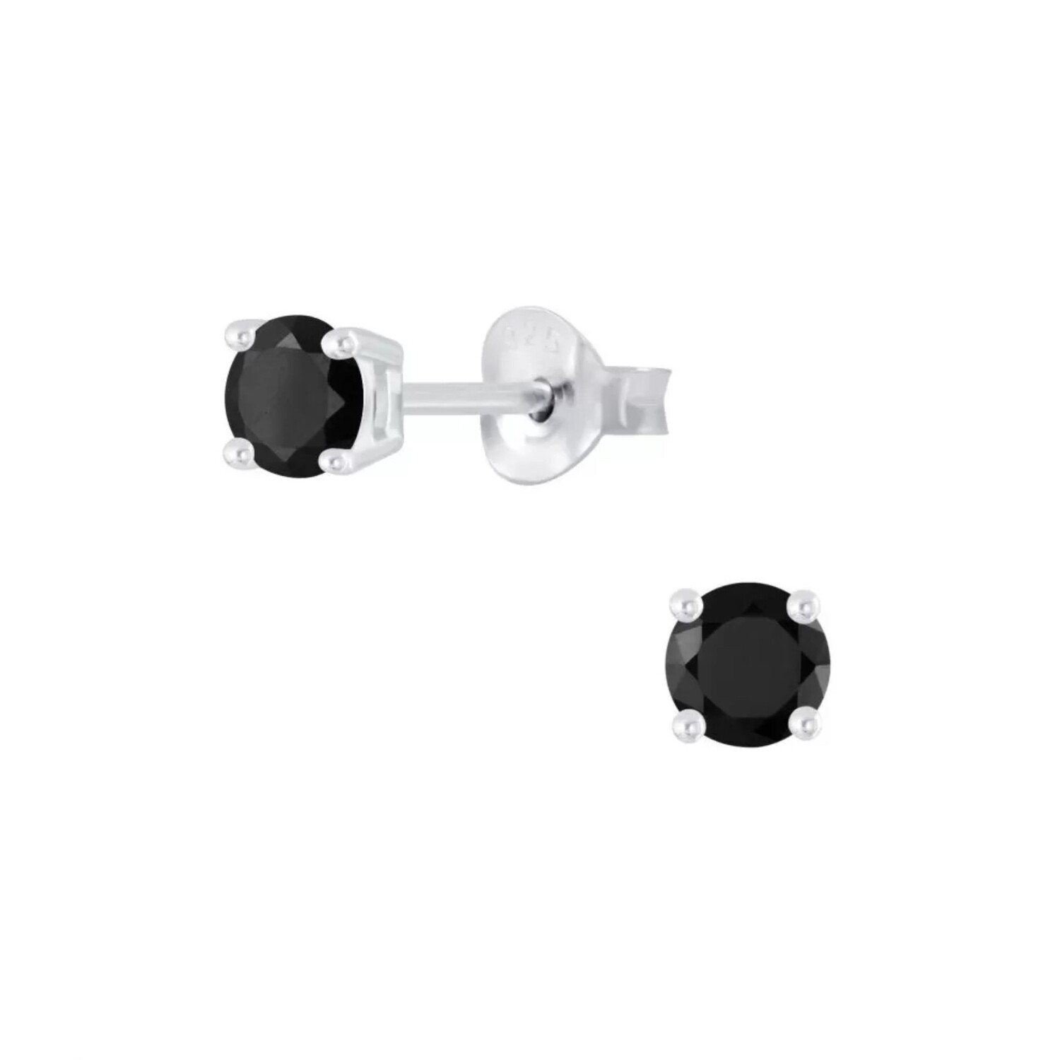 Sterling Silver 4mm Round Black Cubic Zirconia Posts - P24-13