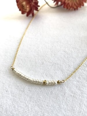 Pearl & Pyrite Iris Necklace - GDFDSN10