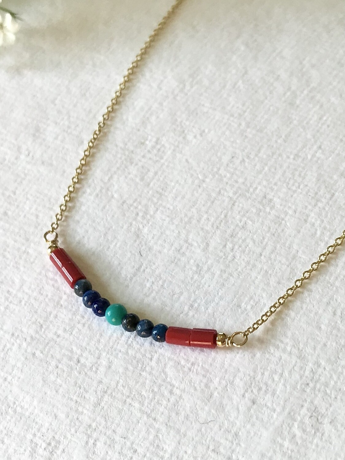 Coral, Lapis & Turquoise Artemis Necklace - GDFDSN1