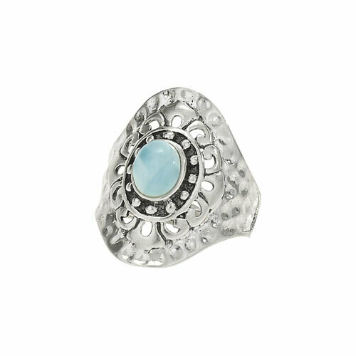 Sterling Silver Larimar Hammered Ring  - RTM3622