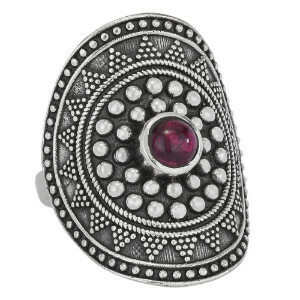 Sterling Silver Garnet Mandala Ring - RTM3859