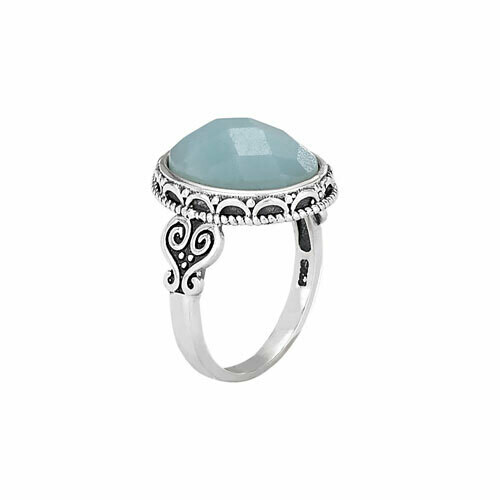 Sterling Silver Faceted Amazonite Ring - RTM3327