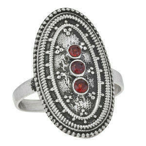 Sterling Silver Triple Garnet Shield Ring -RTM3996
