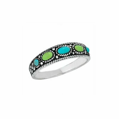 Sterling Silver Turquoise + Gaspeite Ring -RTM3186