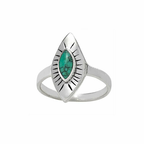 Sterling Silver Sunburst Turquoise Ring - RTM3208