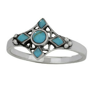Sterling Silver Turquoise 4 Point Ring - RTM3896
