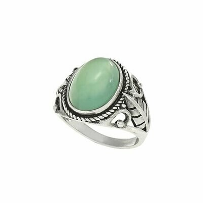Sterling Silver Light Green Agate Ring - RTM3658