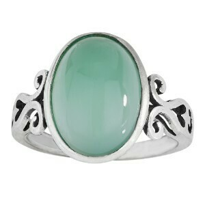 Sterling Silver Light Green Agate Ring - RTM3777