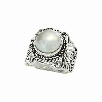 Sterling Silver Wide Ornate Pearl Ring - RTM3631