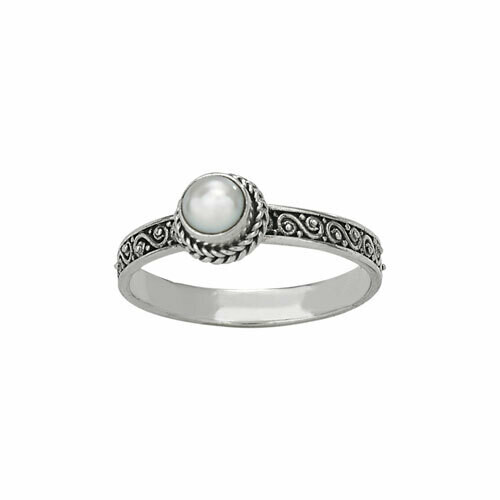 Sterling Silver Scroll Band Pearl Ring - RTM3594