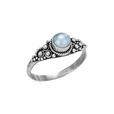 Sterling Silver Pearl Dotted Ring - RTM3149