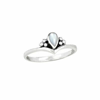 Sterling Silver Pear Mother of Pearl Ring -RTM3184