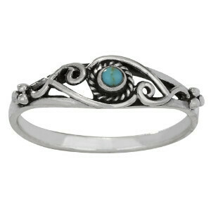 Sterling Silver Turquoise Scrolling Ring - RTM3903