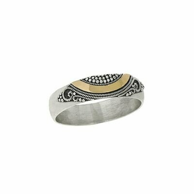 Sterling Silver + Gold Granulated Band - RTM3644