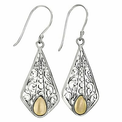 Sterling Silver with Gold Ornate Scroll Earrings - ETM4150