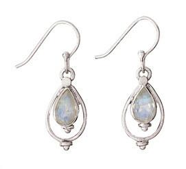 Sterling Silver Teardrop Rainbow Moonstone Earrings - ETM116
