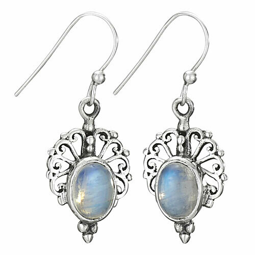 Sterling Silver Rainbow Moonstone Filligree Teardrop Earrings - ETM3893