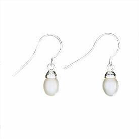 Sterling Silver Simple Pearl Drop Earrings - ETM1137