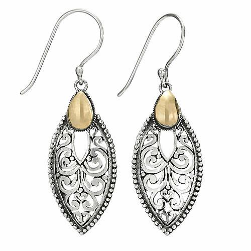 Sterling Silver with Gold Ornate Teardrop Earrings - ETM4139