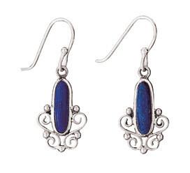 Sterling Silver Lapis Scroll Earrings - ETM1275