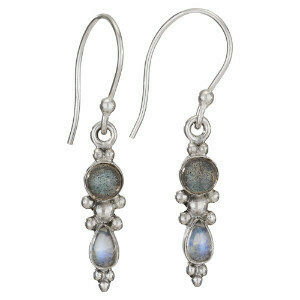 Sterling Silver Labradorite + Rainbow Moonstone Earrings - ETM4338