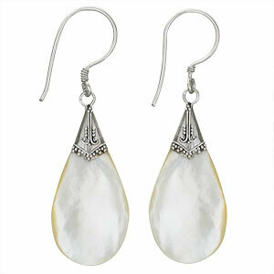 Sterling Silver Large Mother of Pearl Teardrop Earrings - ETM3032