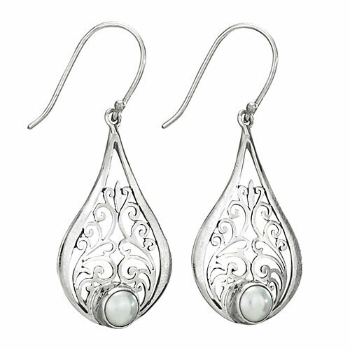 Sterling Silver Pearl Filigree Teardrop Earrings - ETM4144