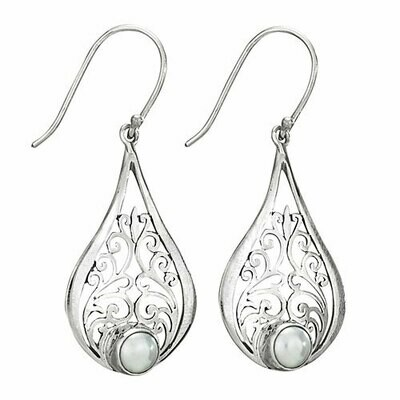 Sterling Silver Pearl Filigree Teardrop Earrings - ETM4144