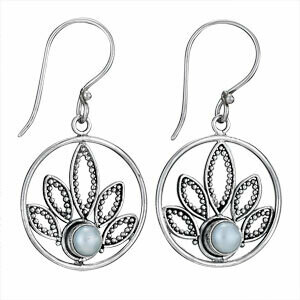 Sterling Silver Granualted Pearl Lotus Earrings - ETM3616