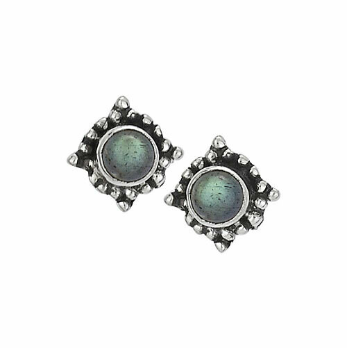 Sterling Silver Labradorite Dotted Posts - ETM3894